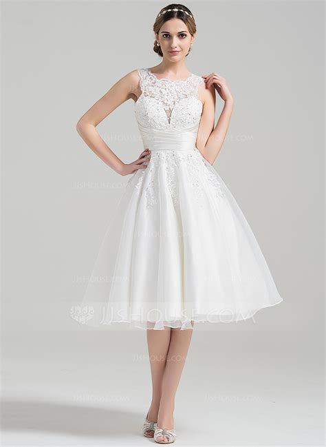 Length Wedding Dress by A Line Princess Scoop Neck Knee Length Organza Wedding