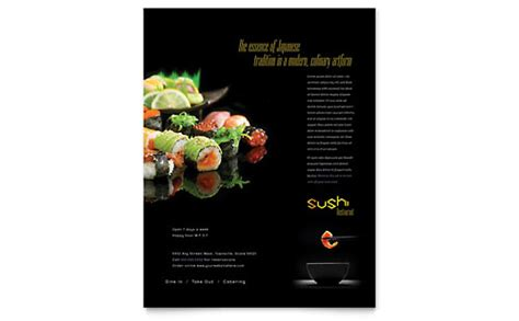 sushi restaurant menu template design