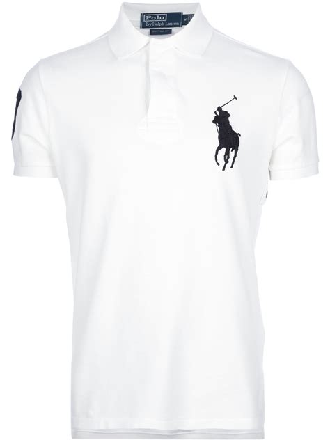 Kaos White Logo 1 lyst polo ralph fitted logo polo shirt in white