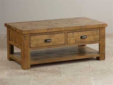 Ripley Rough Sawn Solid Oak 4 Drawer Storage Coffee Table Solid Oak Coffee Table With Storage
