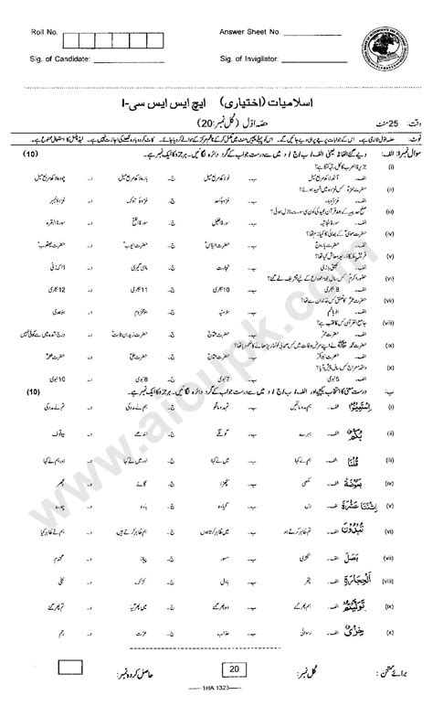 paper pattern urdu first year islamic studies old papers federal board 1st year hssc i