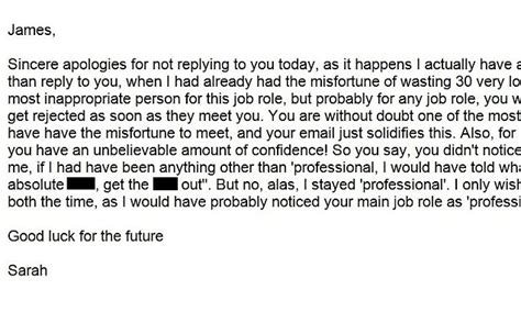 Rejection Letter Daily Mail jobseeker sent rude rejection email calling him an