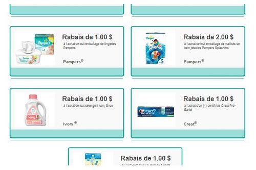 coupons rabais p&g