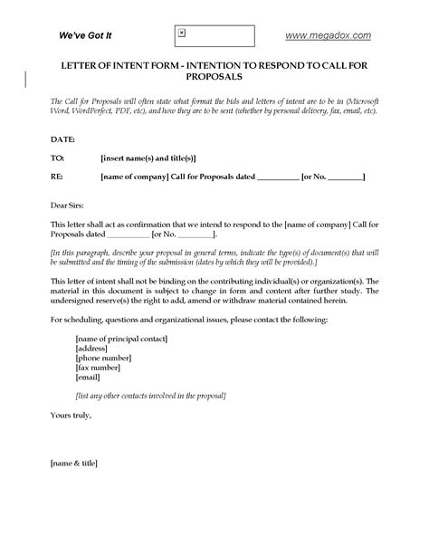 Letter Of Intent To Respond To Call For Proposals Legal Forms And Business Templates Megadox Com Call For Proposals Template
