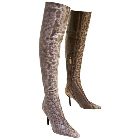 gucci by tom ford the knee skin tight lizard boots c