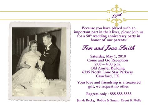 Sle Invitation Letter For Wedding Anniversary Sle 50th Wedding Anniversary Invitations Wedding Invitation Ideas
