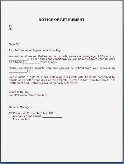 Employment Notice Letter Template Retirement Notice Letter To Employee
