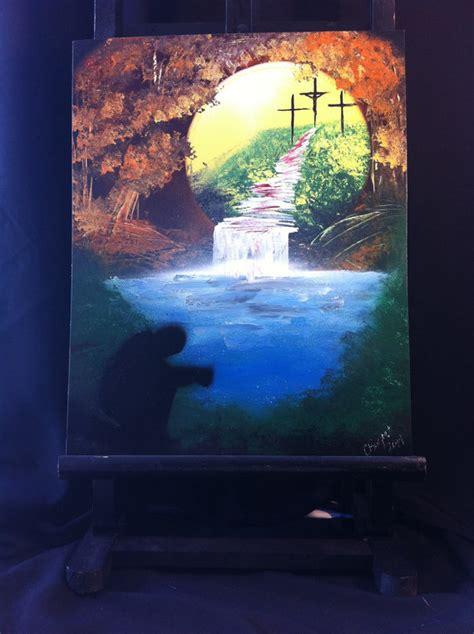 spray painter harolds cross spray paint waterfall painting christian cross