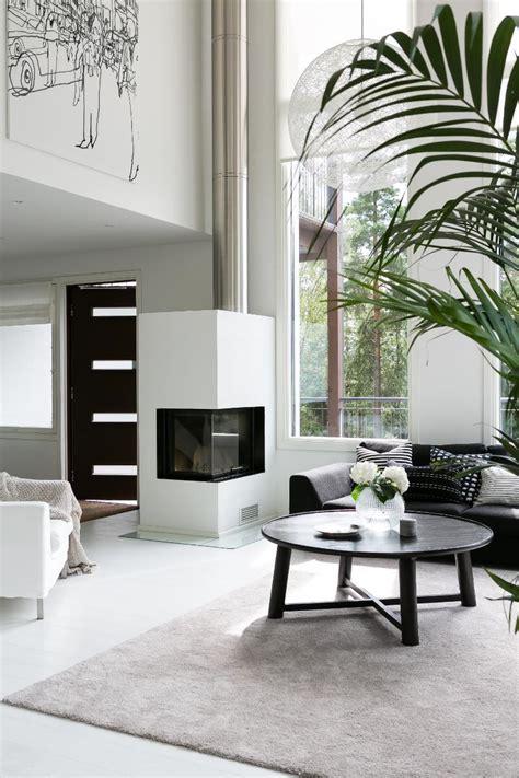 scandinavian modern black  white interior design