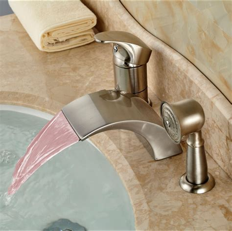 changing bathroom faucet brushed nickel led 3 color changing waterfall bath tub faucet taps deck mount single