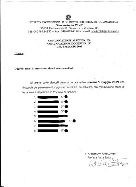 esame per permesso di soggiorno la preside di una scuola chiede il permesso di