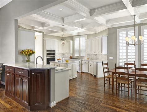 White elegant kitchens, coffered ceiling kitchen design