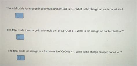 what is the total charge on the two capacitors the total oxide ion charge in a formula unit of co chegg
