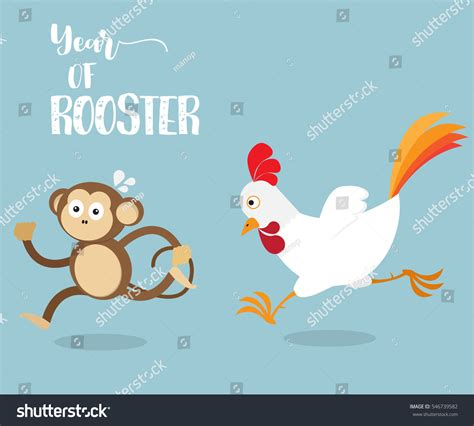rooster and monkey rooster running monkey change year monkey stock vector