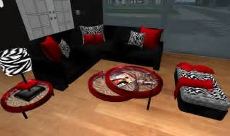 zebra print living room set second life marketplace modern red black and zebra print