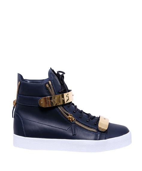 giuseppe zanotti blue sneakers giuseppe zanotti hightop sneakers pelle in blue for lyst