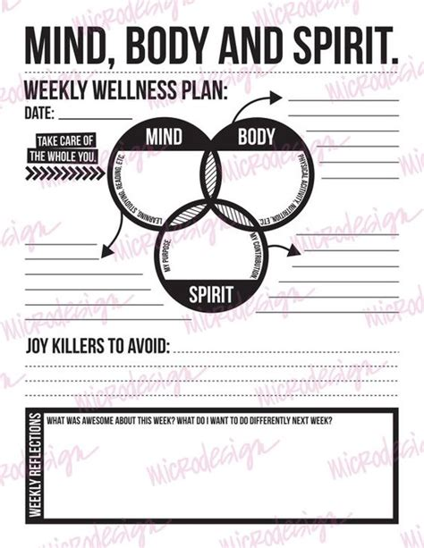 Mind Body Spirit Weekly Wellness Plan By Microdesign On Etsy Inspiraci 243 N Pinterest A Well Personal Wellness Plan Template