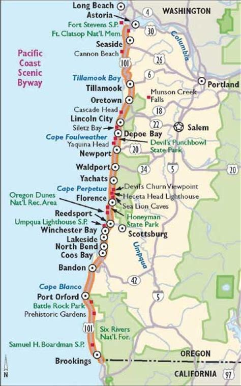 map of oregon and california coast trips highway map and buckets on
