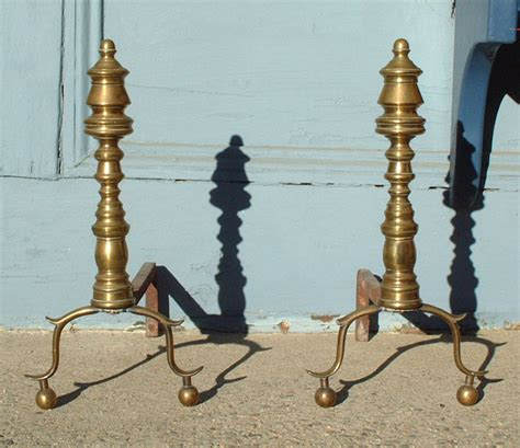 antique brass fireplace andirons c1840 item 2695 for