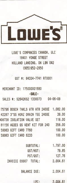 lowes receipt