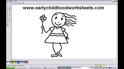 How To Draw People Girl Easy Step By Step For Kindergarten Children Youtube Drawing Pictures For Kindergarten