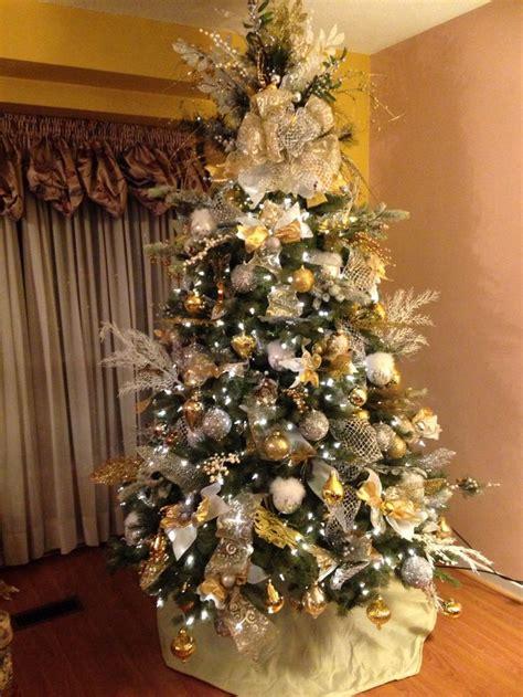 christmas tree gold silver white arbol de navidad en