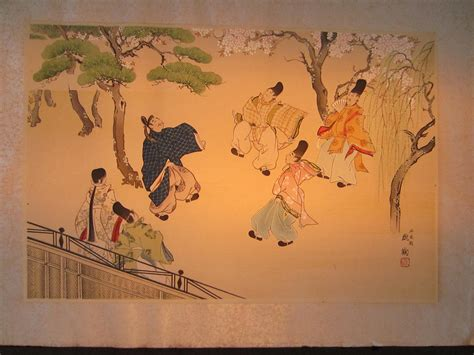 Painting 049 Sle Paper by Asian Painting Players Signed On Rice Paper For Sale