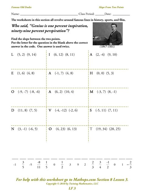 Point Slope Form Worksheet by Write Equation Of A Line Given Two Points Worksheet