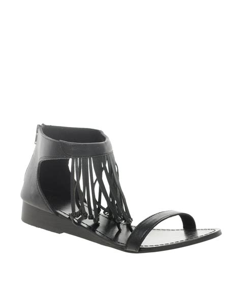 black fringe sandals flat asos asos fergie leather flat sandals with fringe detail