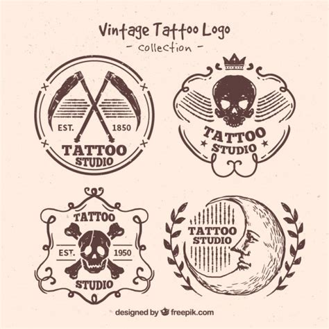 download free tattoo logo vector hand getrokken vintage tattoo embleemreeks vector gratis