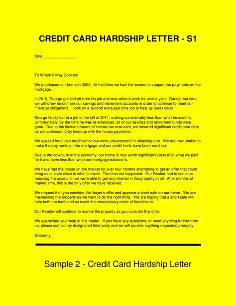 credit card hardship letter template sle hardship letters get out of credit card debt