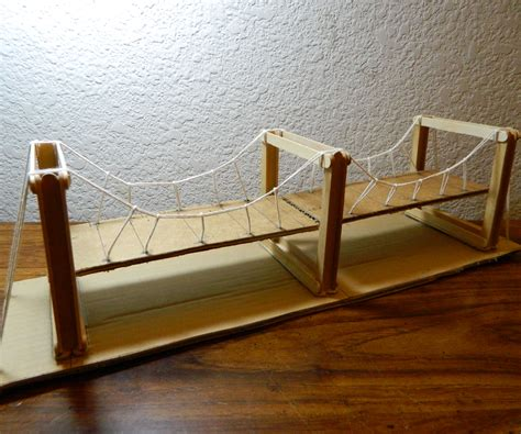 Diy Suspension Bridge 54 Span Simple Suspension Bridge Model 8 Steps