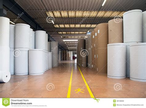 How To Make Paper In Factory - warehouse paper and cardoboard in paper mill stock photo