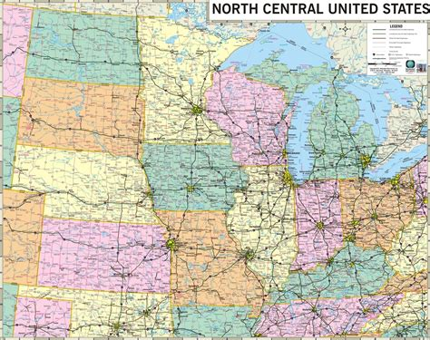 road map central usa themapstore central states central midwest