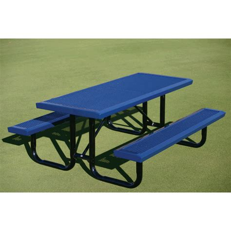 rectangular picnic table 6 ft plastic coated steel