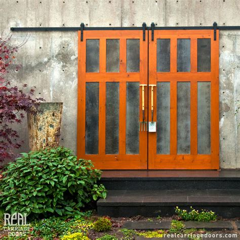 Sliding Front Door Exterior Sliding Barn Doors Contemporary Garage Doors And Openers Other By Real Carriage