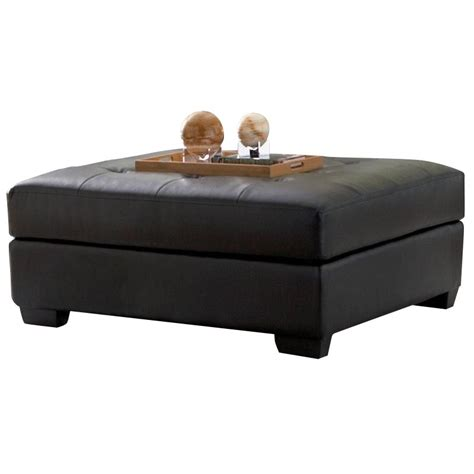 Black Cocktail Ottoman Coaster Darie Leather Cocktail Ottoman In Black 500607