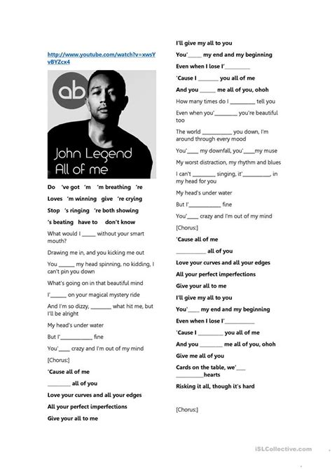 printable lyrics all of me all of me by john legend lyrics worksheet free esl