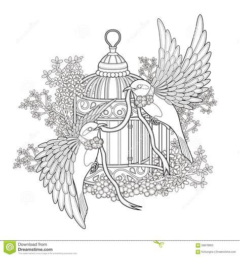 elegant bird coloring page stock illustration