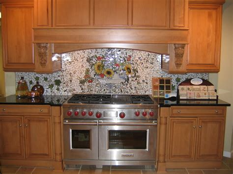 painted backsplash ideas kitchen custom painted mosaic backsplash traditional