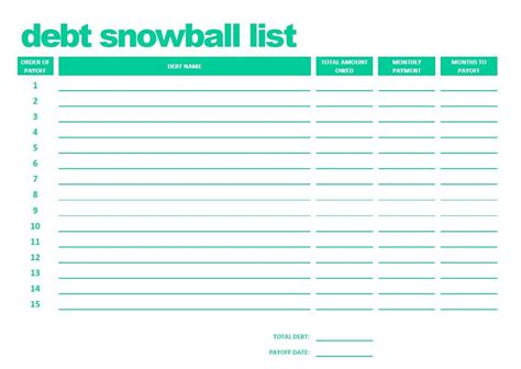 printable debt snowball list pdf
