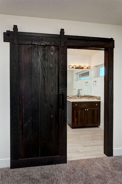 barn doors rustic trim accents  shou sugi ban  dark