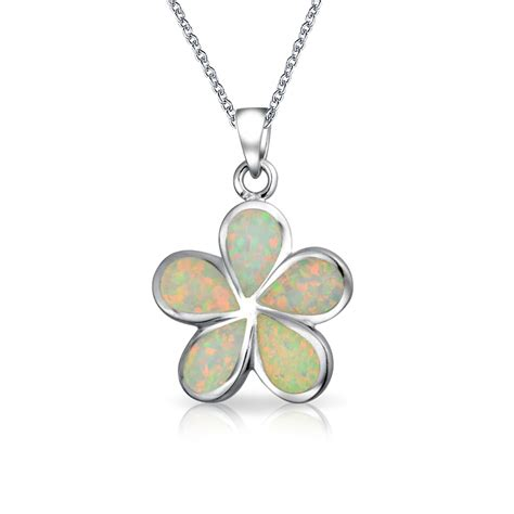 white opal necklace hawaiian jewelry plumeria flower white opal pendant