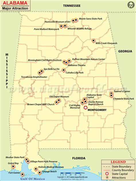 usa map tourist attractions places to visit in alabama alabama travel attractions map