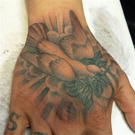 right hand tattoo designs right grey ink dove