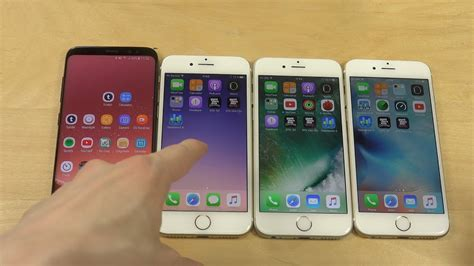 samsung galaxy s8 vs iphone 7 vs iphone 6s vs iphone 6 benchmark speed test