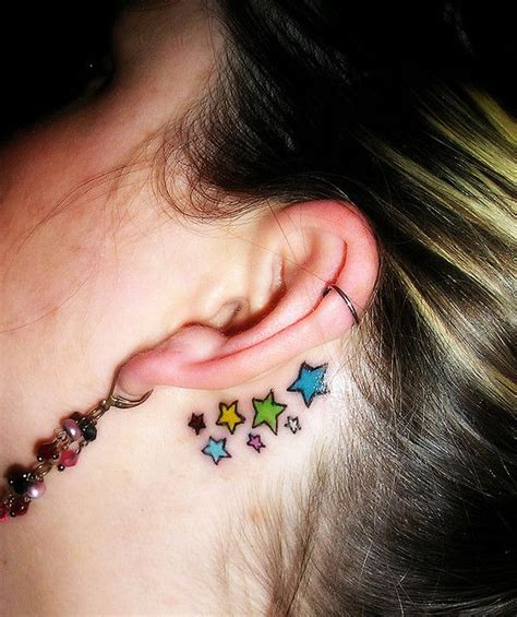 rainbow tattoo behind ear 12 star tattoos for pretty girls pretty designs