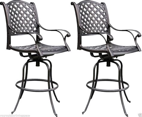 aluminum outdoor stools bar stools set of 2 outdoor barstool cast aluminum swivel