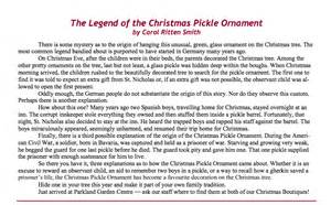 the legend of the christmas pickle ornament writers ink