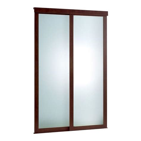 Closet Door Frame Pinecroft 48 In X 80 In Frosted Glass Fusion Frosted Choco Frame Aluminum Sliding Door